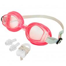Окуляри для плавання дитячі з берушами і кліпсою для носа в комплекті FitGo, код: G7315-S52