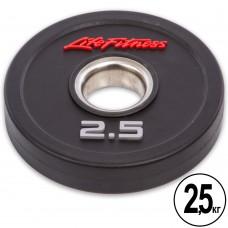 Диски поліуретанові Life Fitness з хватом і металевою втулкою 2,5кг (d-51мм), код: SC-80154-2_5-S52