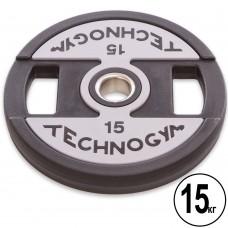 Диски поліуретанові Technogym з хватом і металевою втулкою 15кг (d-51мм), код: TG-1837-15-S52