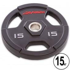 Диски поліуретанові Life Fitness з хватом і металевою втулкою 15кг (d-51мм), код: SC-80154-15-S52