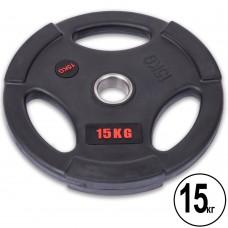 Диски обгумовані Life Fitness з потрійним хватом і металевою втулкою 15кг (d-51мм), код: SC-80154B-15-S52