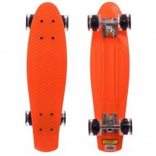 Скейтборд пластиковий Penny Led Wheels 22in з світяться колесами помаранчевий-чорний, код: SK-5672-11-S52