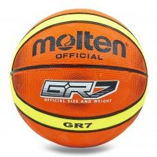 М'яч баскетбольний гумовий Molten №7, помаранчевий-жовтий, код: BGRX7-TI-S52