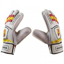 Воротарські рукавички PlayGame Latex Foam FC Barcs, біло-жовтий, розмір 9, код: GG-BR9-WS