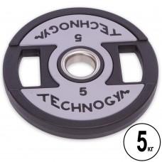 Диски поліуретанові Technogym з хватом і металевою втулкою 5 кг (d-51мм), код: TG-1837-5-S52