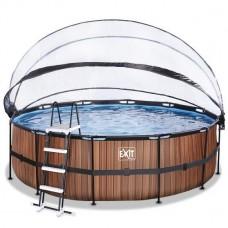 Басейн Exit круглий з куполом 450х122 см + тепловий насос + пісочний фільтр дерево, код: 30.67.15.10