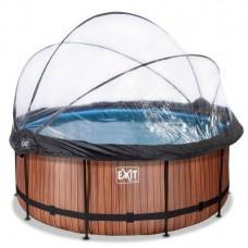 """Басейн EXIT каркасний круглий з куполом 360х122 см + тепловий насос + пісочний фільтр """"дерево"""", код: 30.67.12.10"""