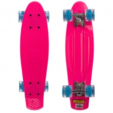 Скейтборд пластиковий Penny Led Wheels 22in з світяться колесами рожевий-блакитний, код: SK-5672-4-S52