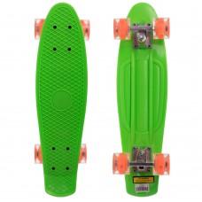 Скейтборд пластиковий Penny Led Wheels 22in з світяться колесами салатовий-помаранчевий, код: SK-5672-7-S52
