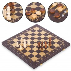 Шахи, шашки, нарди 3 в 1 кожзам ChessTour 400x400 мм, код: L4008