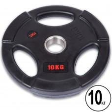 Диски обгумовані з потрійним хватом і металевою втулкою Life Fitness 10кг (d-51мм), код: SC-80154B-10-S52