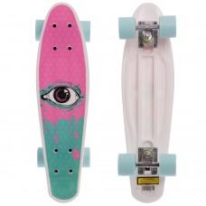Скейтборд пластиковий Penny Око 550х145 мм, рожевий-бірюза, код: HB-13-2-S52