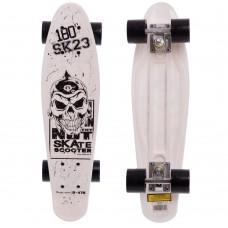 Скейтборд пластиковий Penny Череп 550х145 мм, білий, код: HB-13-5-S52